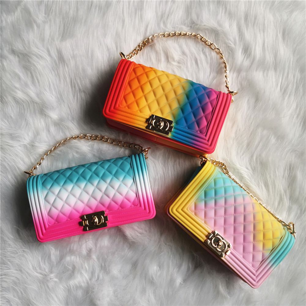 TS9021 Amazon hot sell beach fashion rainbow shoulder candy handbags colorful Jelly PVC shoulder bag jelly bags for women