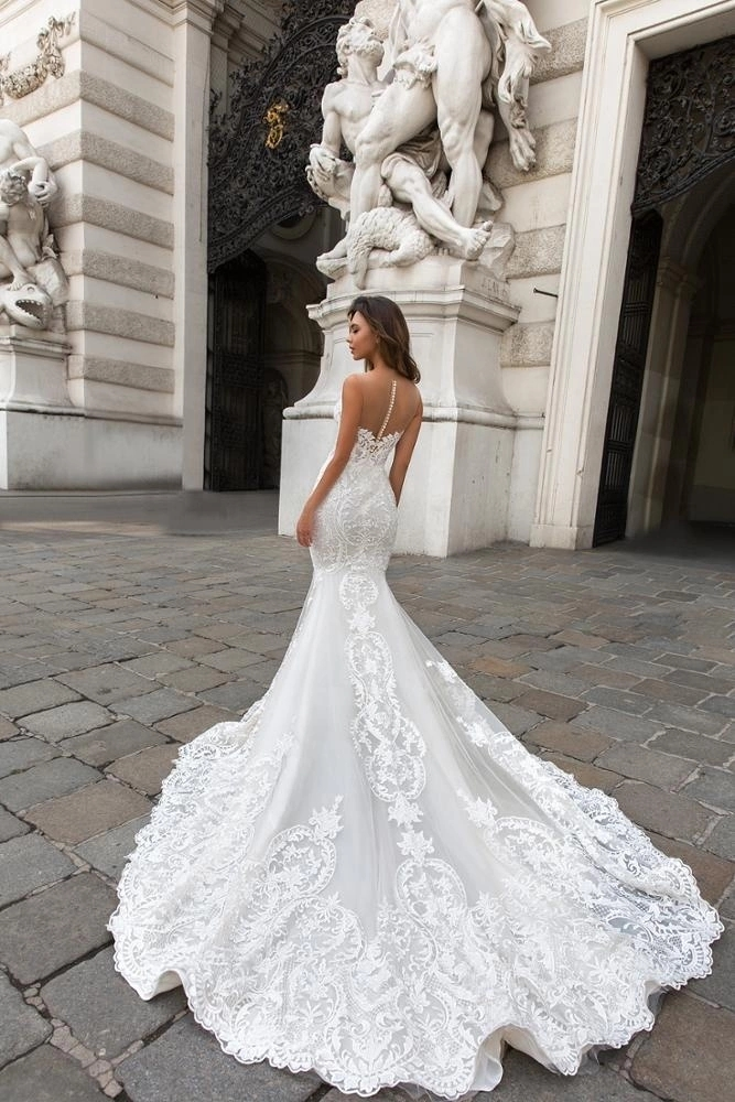 robe de mariage Luxury Mermaid Wedding Dresses Sexy Fit and Flare Lace Wedding Gown with Train Off Shoulder Arabic Bridal Dress