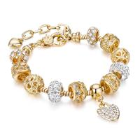2020 New Arrival Amazon Best Selling 18 k Gold Austrian Crystal Rhinestone Star Love Heart Charm Bracelet