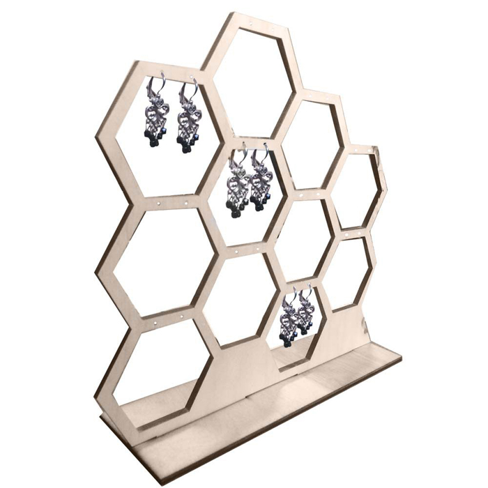 Natural Wood Honeycomb Hexagon Table Jewelry Earring Display Stand Holder Organizer