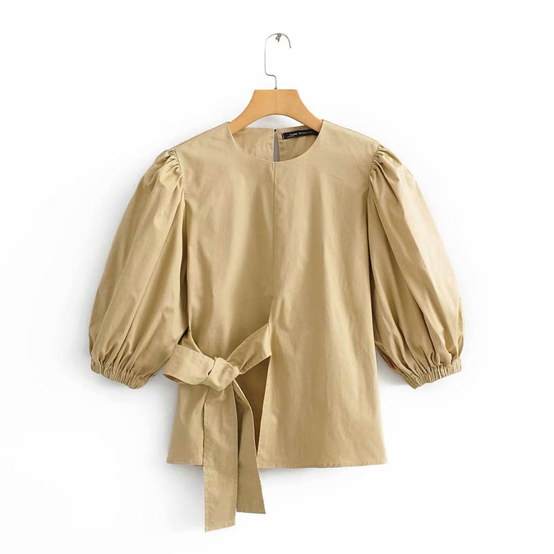 <strong>C002</strong> European Women Brief Design Khaki Color Side Bow Knot Poplin Blouse Ladies Casual Cotton Blouses Blusas tops Clothing
