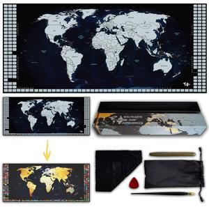 "2019 newest 24x17"" large stock deluxe custom scratch off world map with flags scratch off travel map"