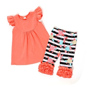 Wholesale fly sleeve design clothing baby set children clothing baby girl sets