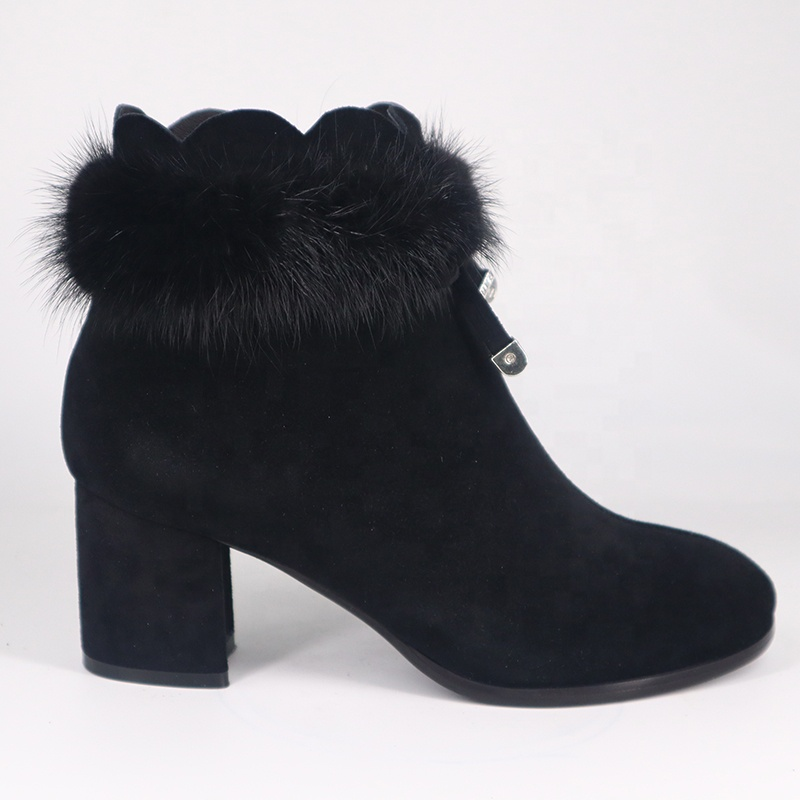 2019 Women's Real Fur Boots <strong>A001</strong> Ladies Leather Winter Snow Ankle Fur Heel Women Boots Shoes