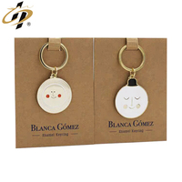 wholesale custom gold plated enamel emoji smiley metal keychain with earth keyring