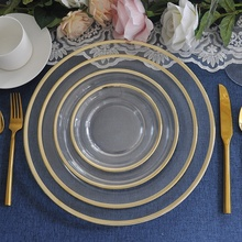 unbreakable clear gold rim design glass dinner set <strong>plates</strong> with logo wholesale