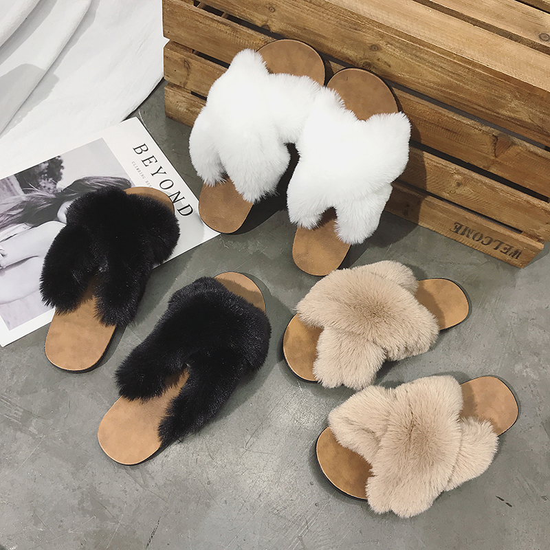 women winter <strong>slippers</strong> furry <strong>slippers</strong> cross faux fur upper <strong>slippers</strong> for women indoors outdoor slides