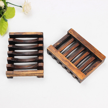 Wooden Natural Bamboo Soap Dish Tray Holder Storage Soap Rack <strong>Plate</strong> Box Lotion Dispenser