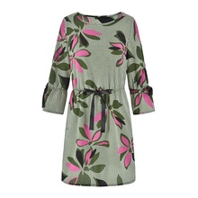Fashion Ladies Dress Women Floral Print Grey Dress Middle Aged Lady <strong>Clothing</strong> <strong>manufacturer</strong>