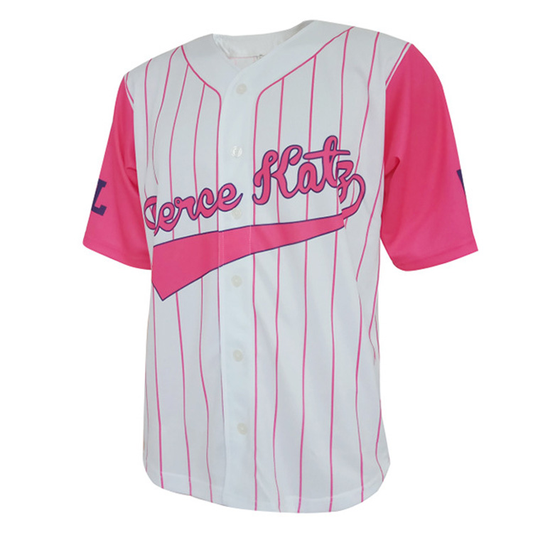 New Designs College Sportswear Baseball Uniforms Full Button Up White Pink V Neck Baseball Wear