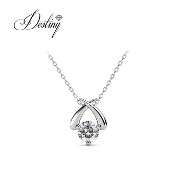 Destiny Jewellery  fashion solitaire diamond pendant necklace with crystal from swarovski