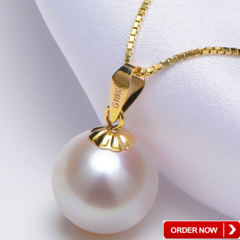 18K karat yellow gold pure real genuine freshwater natural earring and necklace jewellery jewelry real fresh water pearl set