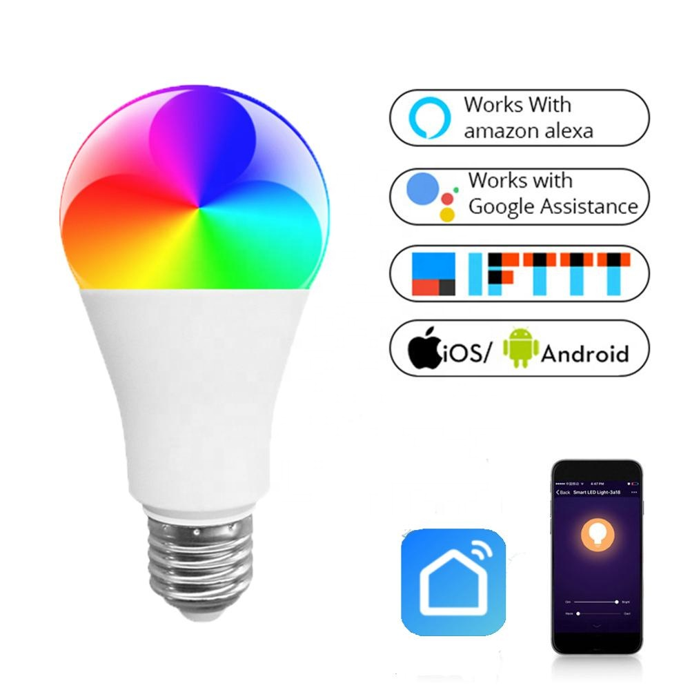 Custom Design Wifi Smart Led Light <strong>Bulb</strong> A60 9W E26 E27 B22 Smart <strong>Bulb</strong> Compatible with Alexa Google