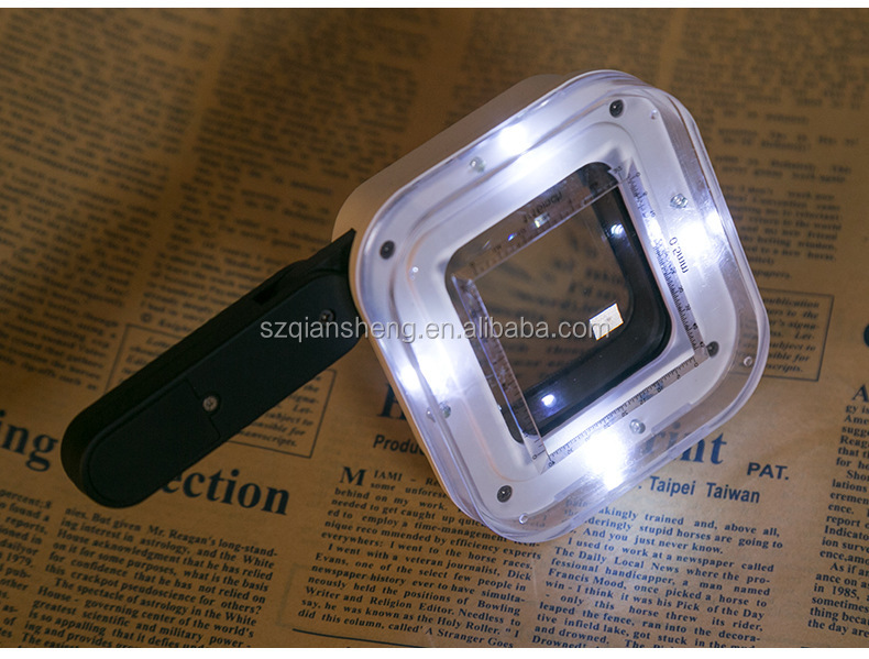 Handheld LED Magnifier Glass Money Detector Lamp Square Reading Loupe Antique Appraisal Magnifying Mirror