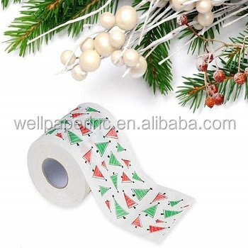 2 color printing 3 ply printed toilet paper rolls with individual pack