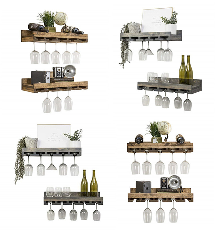 Floating Wine Shelf and Glass Rack Set (Wall Mounted), Rustic Pine Wood Handmade