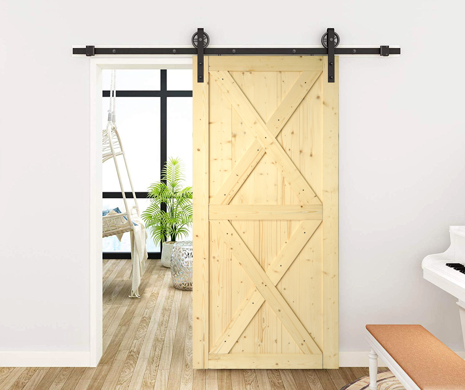 KINMADE 1-3/8in x 37in x 84in knocked down DIY Wood Barn Door Unfinished Solid knotty Pine Pre-Drilled Ready to Assemble