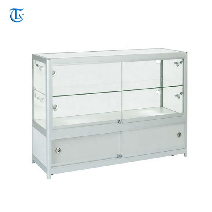 aluminum frame tempered glasses led lights display showcases <strong>mobile</strong> phone display cabinet