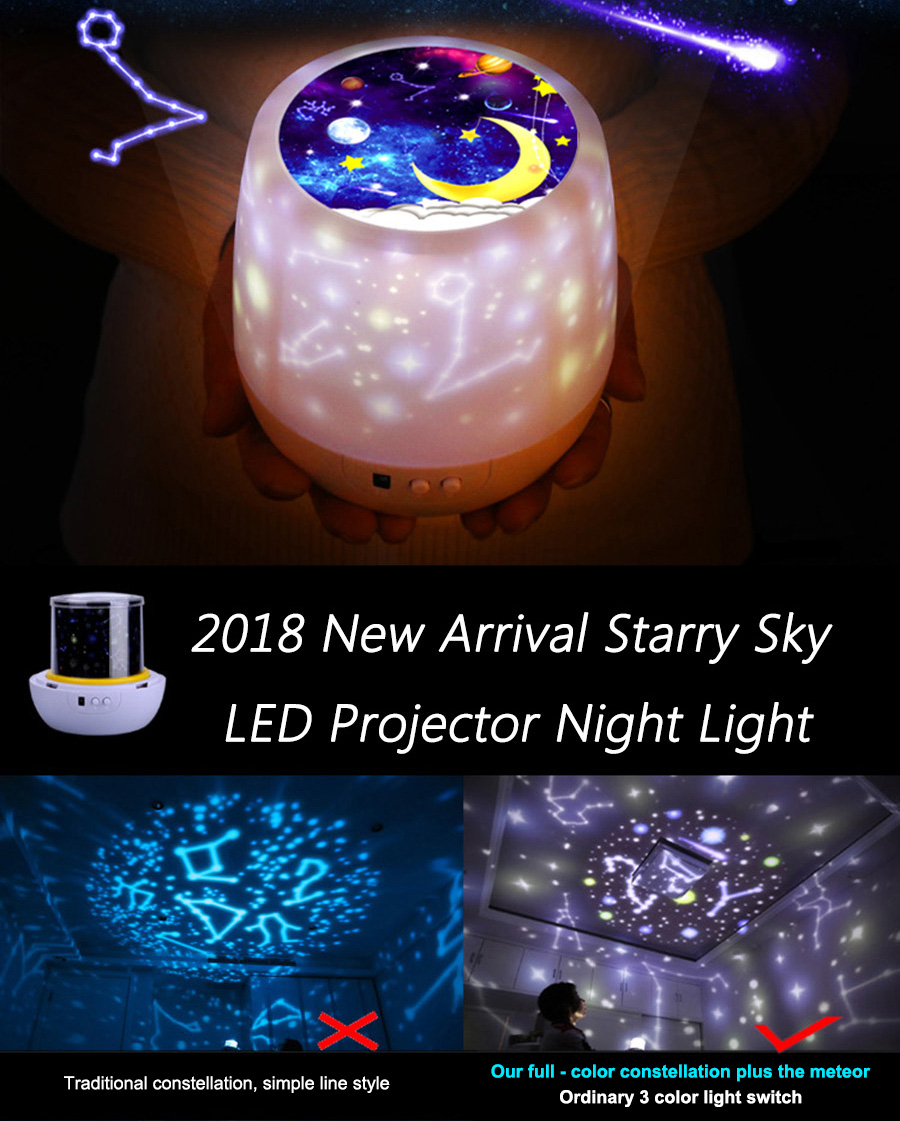 Romantic Colorful Rotation USB kids led night light laser starry Nebula Moon Star Projector