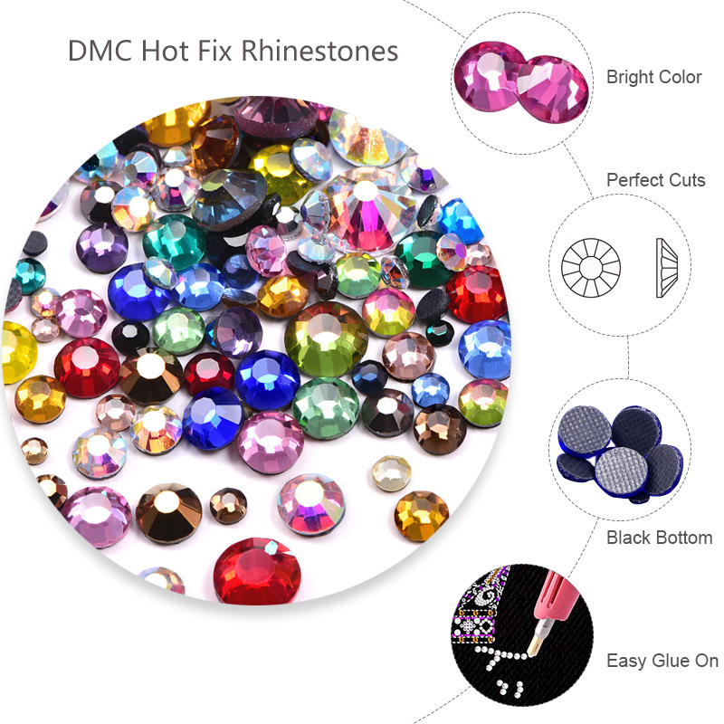 Factory wholesale price dmc hot fix rhinestones chinese quality hot fix stone for clothing decoration