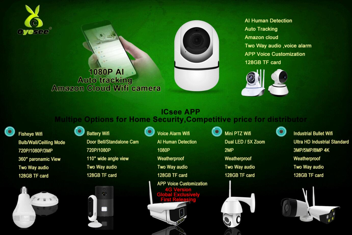 auto track1080P wifi cctv icsee xmeye app 128GB Smart home factory price oyesee
