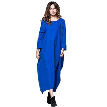 2019 new women dubai casual navy blue girls blank loose cotton muslim abaya dress islamic clothing designs in pakistan
