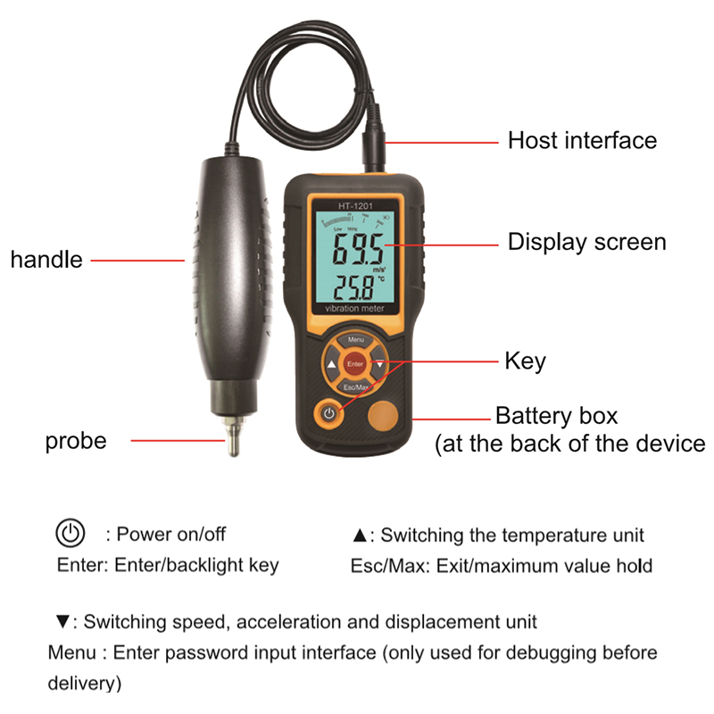 HT-1201 Portable LCD Vibration Analyzer Tester Meter Vibrometer Gauge Tester Analyzer 0.1-199.9m/s Vibration Tester Analyzer