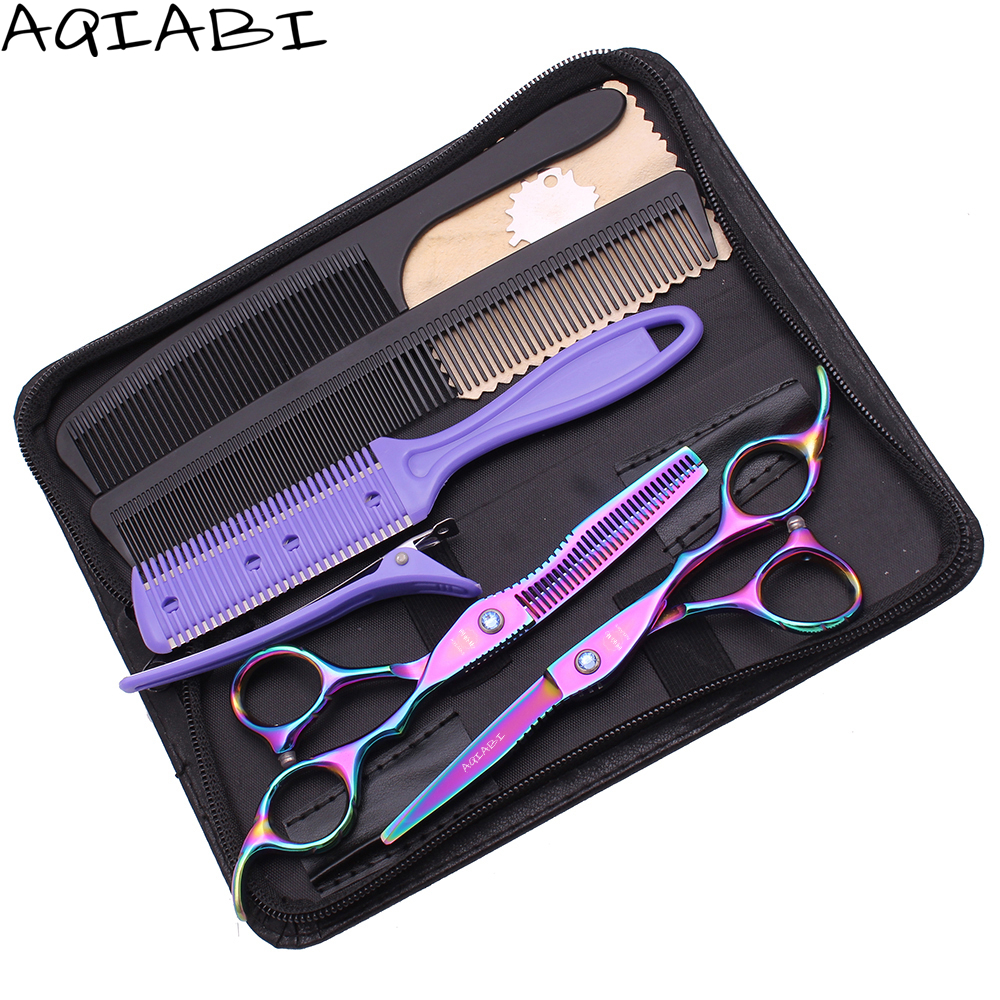 Hair Thinning Scissors 5.5&quot; 6'' AQIABI 440C Multi-color Hair Cutting Scissors Haircut Scissors Set <strong>A1011</strong>