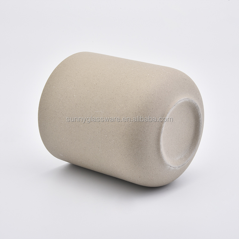 Round shape yellow color ceramic candle jar wholesale