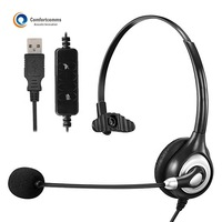 High Quality Computer Headphone with Mic Voip Noise Cancelling USB Headset for Call Center