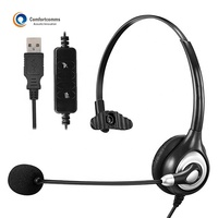 Monaural Computer Headphone Voip Noise Cancelling USB Headset for Call Center