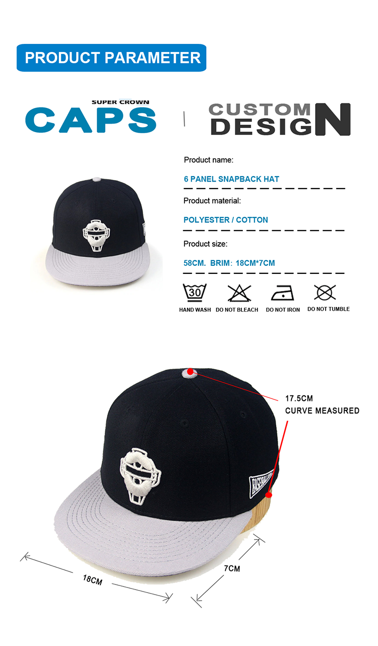 Factory 3D Embroidery Logo Closed Back Closure Snapback Flex Fit Hats Fitted Cap
