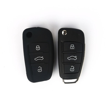 wholesale 3 buttons plastic silicon protective chain Ring shell case holder car key cover