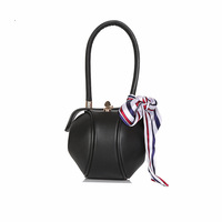 Autumn and winter fashion lock small round bag color contrast silk scarflantern lady handbag