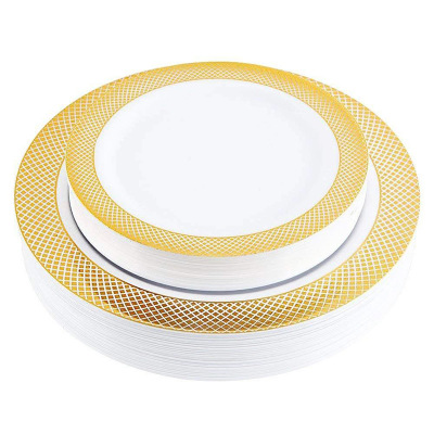 Gold Disposable Plastic <strong>Plates</strong> Lace Design Wedding Party Plastic <strong>Plates</strong> for Gold Lace <strong>Plates</strong> Salad Dessert