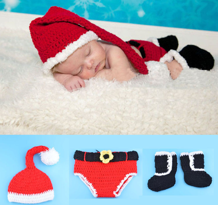 Infant Baby Christmas photo props Whosale Xmas Baby Infant Hat Knit Santa Hat Costume For Infant  baby