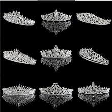 Factory Sell alloy and Rhinestone Handmade silver wedding pageant bride <strong>crowns</strong> and tiara