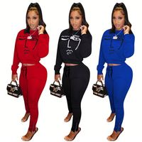 9121635 fashion casual funny pattern solid short top zip hem trouser leisure Clothing 2 Piece Set Women