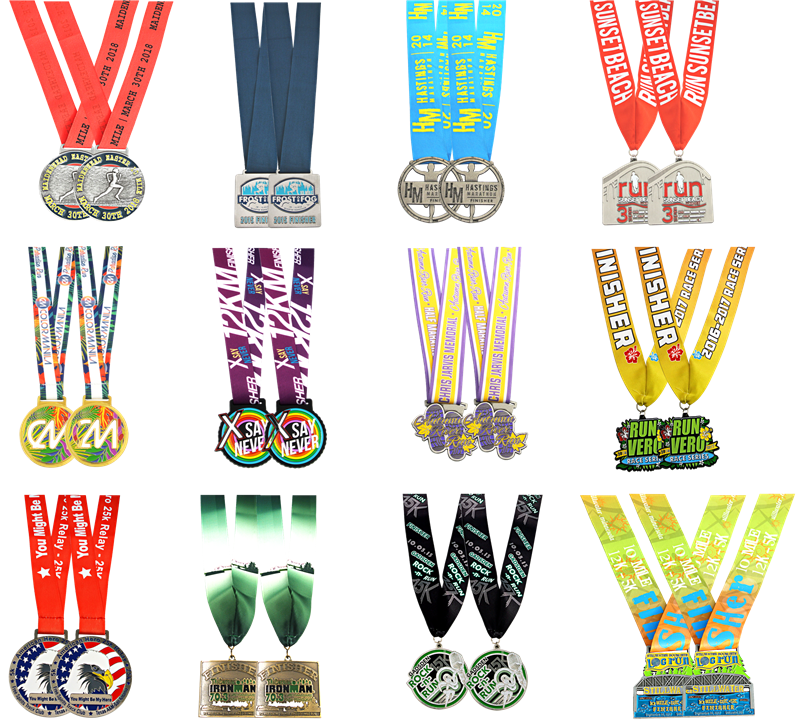 2018 custom cheap sports gold printing with sticker animal metal medals with ribbon