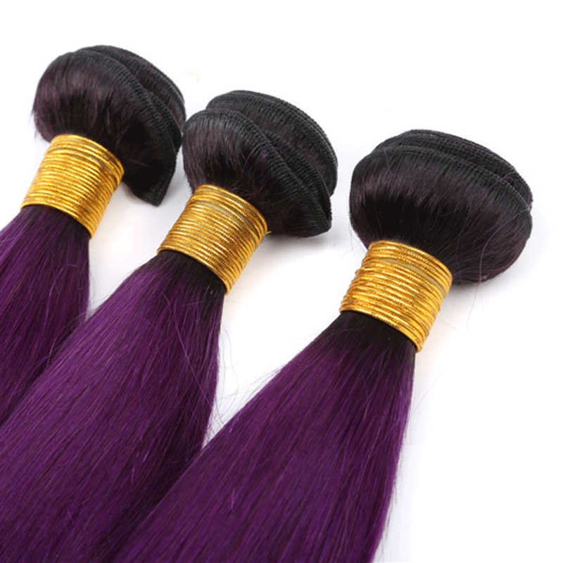 "16""-30""Length Ombre Colors 100%Real Brazilian Cuticle Aligned Hair Virgin Hair Bundles"