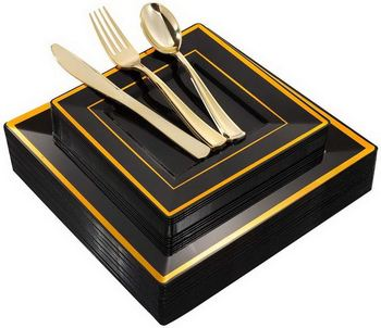 125Pieces Black Square Plastic Plates with Gold Rim Gold Disposable Cutlery Silverware- Plastic Dinnerware