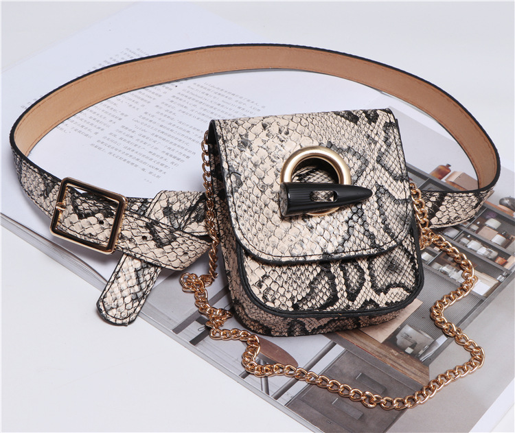 Wholesale special pattern animal print waist leather bum bag for woman