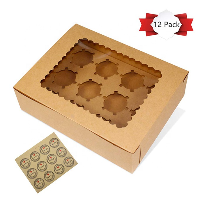 Wholesale 12 Cupcake box Food Grade White Kraft paper box for cupcake