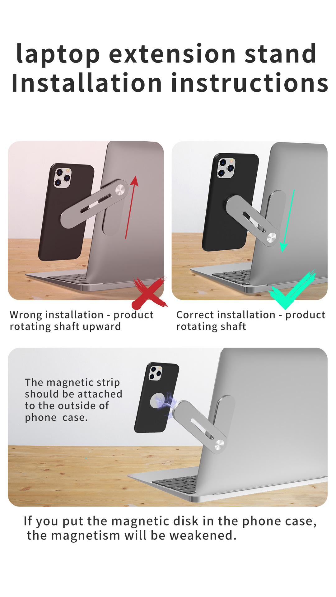 Magnetic Laptop Phone Holder Universal computer expansion bracket magnetic suction mobile phone holder