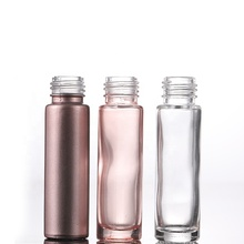 Essential Oil Use 10ml Pink Roll On <strong>Glass</strong> Roller Bottle With Crystal Gemstone Roller Ball And Rose Gold Cap