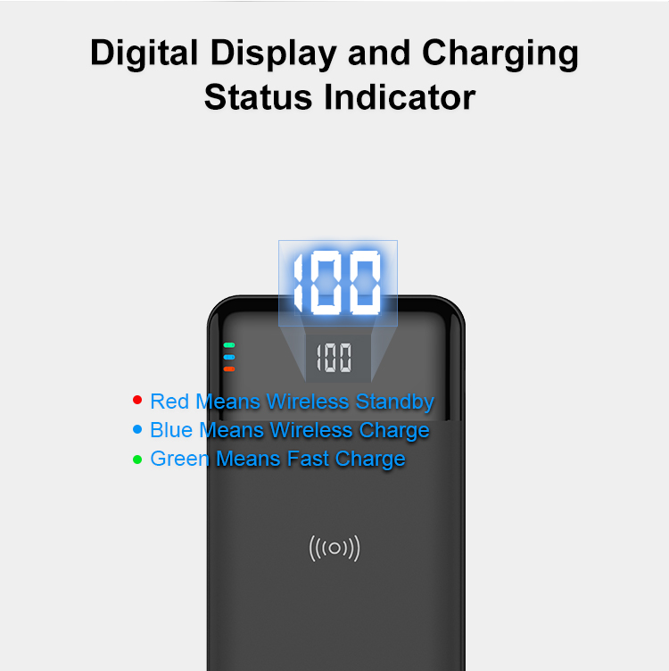 New Qi Standard Wireless 10000mAh Power Bank PD 3.0 18W & QC 3.0 18W Fast Charging Battery Pack Portable Charger