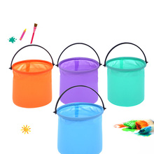 LZY743 Colorful Multifunctional Plastic Folding Painting Bucket For Art Paint <strong>Brush</strong> Washing Paint Tools