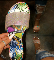 2020 Hot Popular Ladies Slippers Bright Rhinestone Women Flat Sandals Bling Diamond Slides