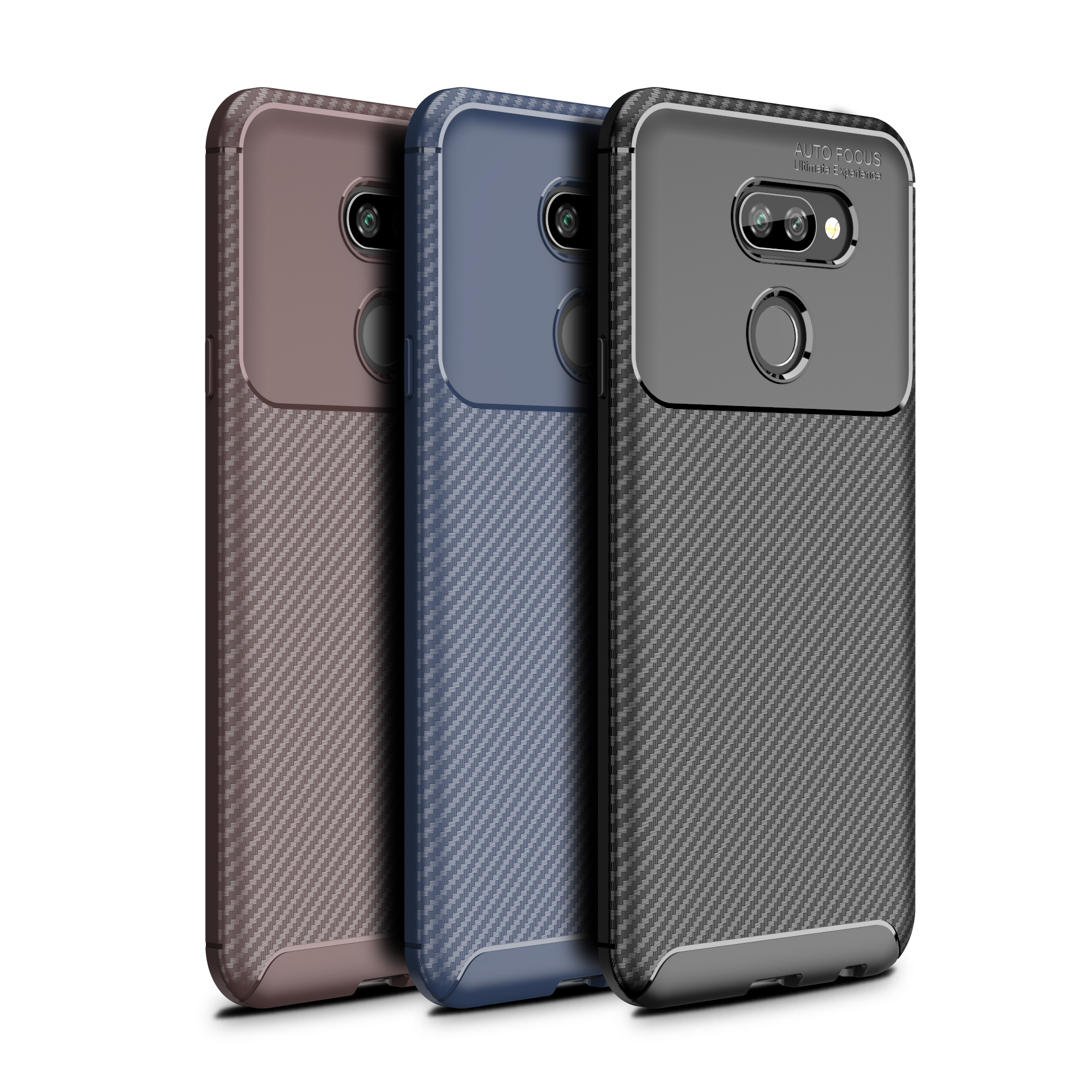 Anti-scratch Carbon Fiber Texture TPU Silicone Soft Silicone <strong>Phone</strong> Case For LG Q70