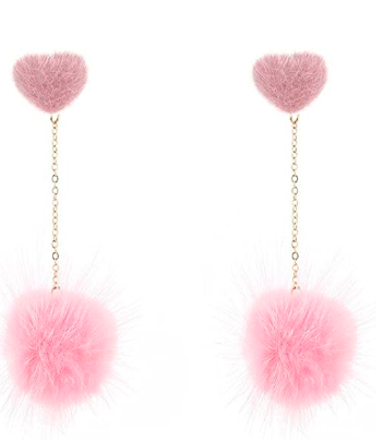 Women Long Pin Dangle Pom Pom Ball Drops Earrings Cute Lady Fur Ball Stud Earrings <strong>d120</strong>